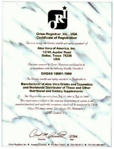 ΟΗSAS 18001 | Forever Living Products Certificates